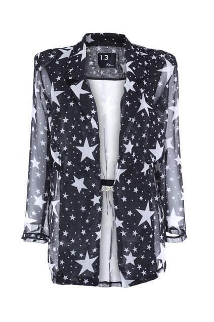 Stars Print Black Chiffon Coat