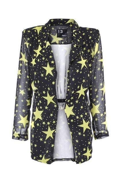 Stars Print Yellow Chiffon Coat