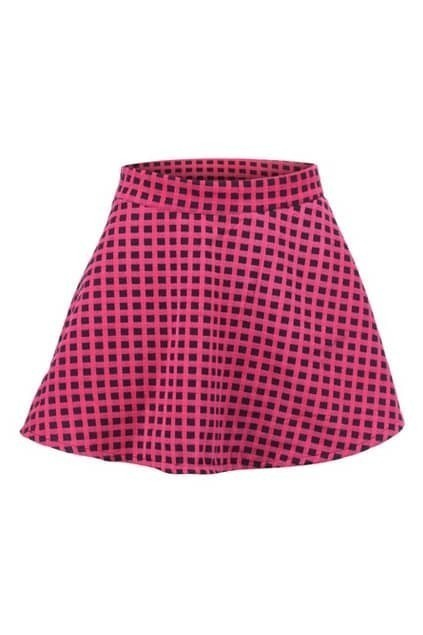 Fine Check Pink Flared Skirt