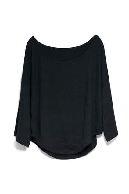 Batwing Sleeves Loose Style Black T-shirt