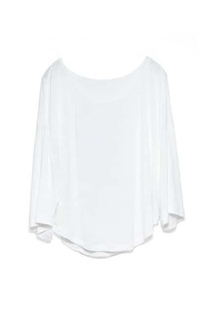 Batwing Sleeves Loose Style White T-shirt