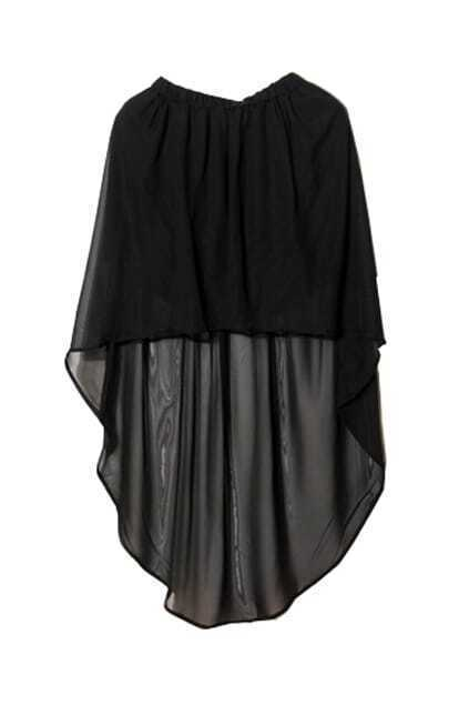 Anomalous Hem Lightweight Black Skirt