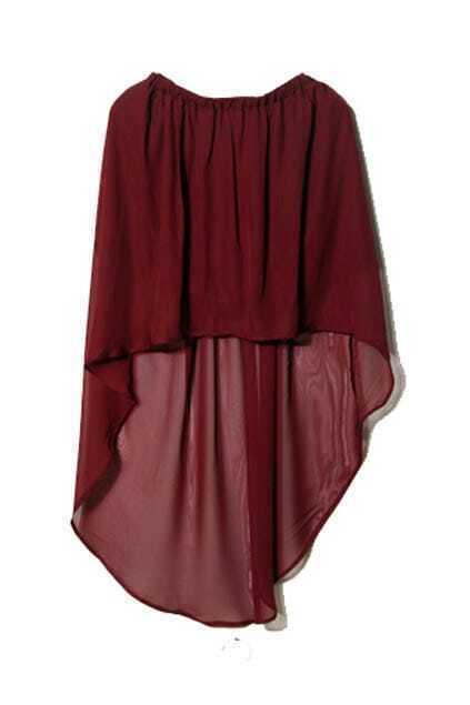 Anomalous Hem Lightweight Wine-red Skirt