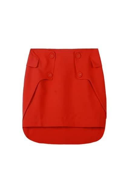 Hip Wrapped Orange Red Skirt