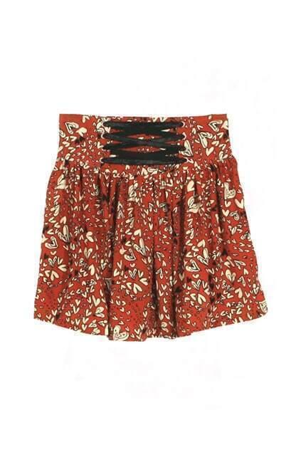 Loli Floral Highwaist Orange Skirt