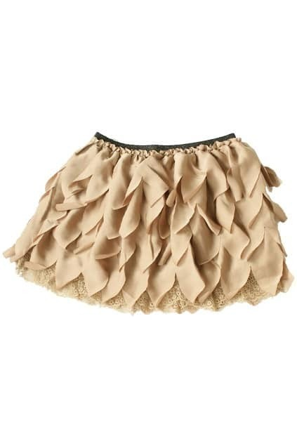 Lace Chiffon Apricot Tiered Skirt