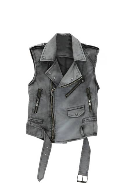 Ziped Grey Denim Gilet