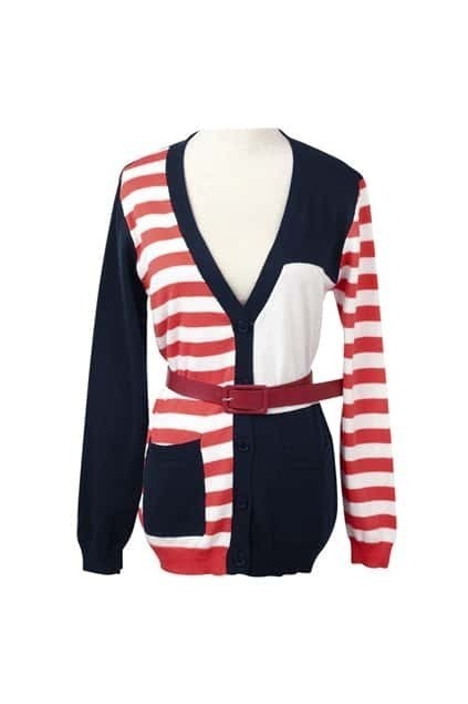 Color Block Red Striped Cardigan