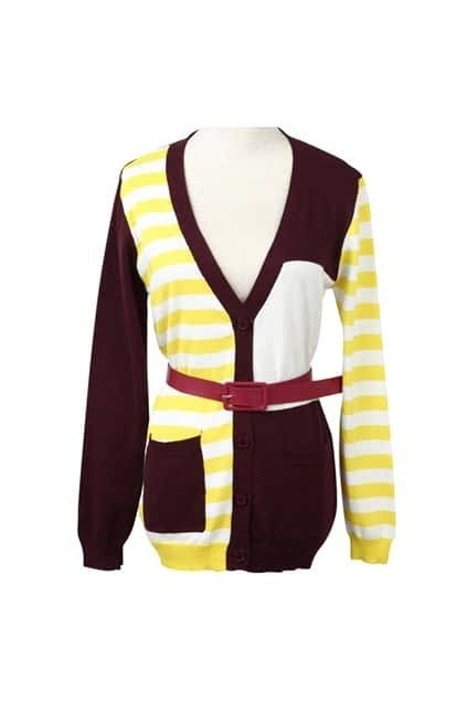 Color Block Yellow Striped Cardigan