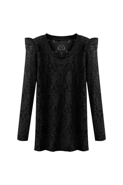 All Over Lace Shrugged Black T-shirt