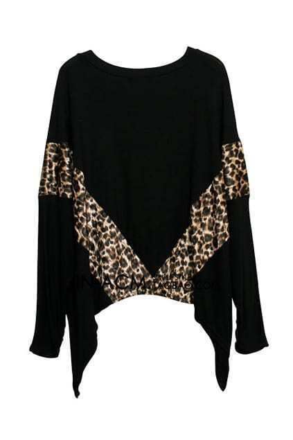 Leopard Panel Batwing Black T-shirt