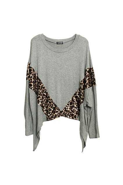 Leopard Panel Batwing Grey T-shirt