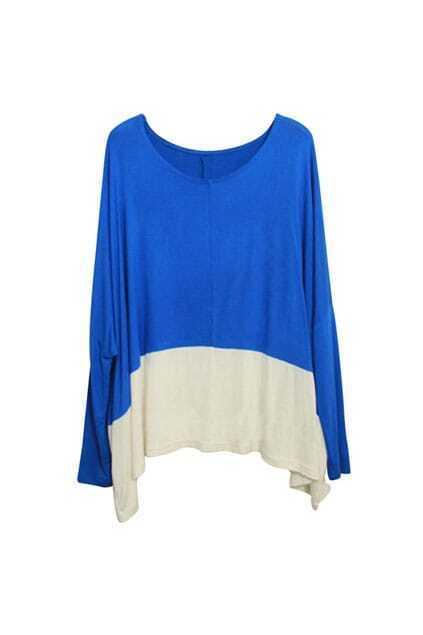 Color Contrast Blue Batwing T-shirt