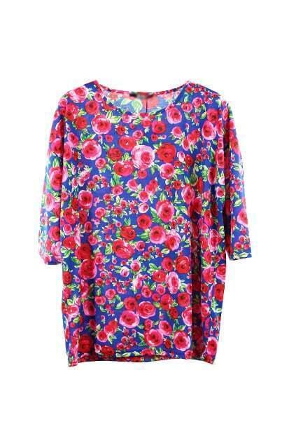 Red Flower Print Blue T-shirt