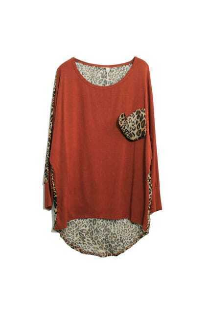 Retro Leopard Reddish Brown T-shirt