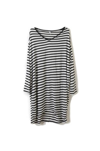 Loose Style Black Strips White T-shirt