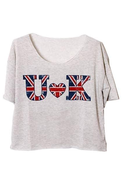 UK Print Grey T-shirt