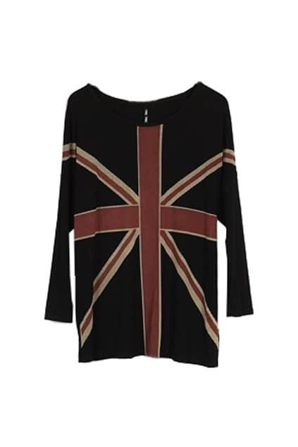 Flag Print Batwing-sleeve Black T-shirt