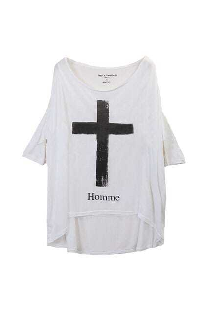 Cross Batwing White T-shirt