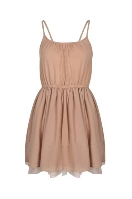 Feminine Flared Nude-pink Strap Dress