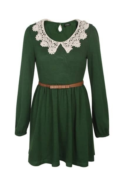 Contrast Wastband Lace Neckline Green Dress