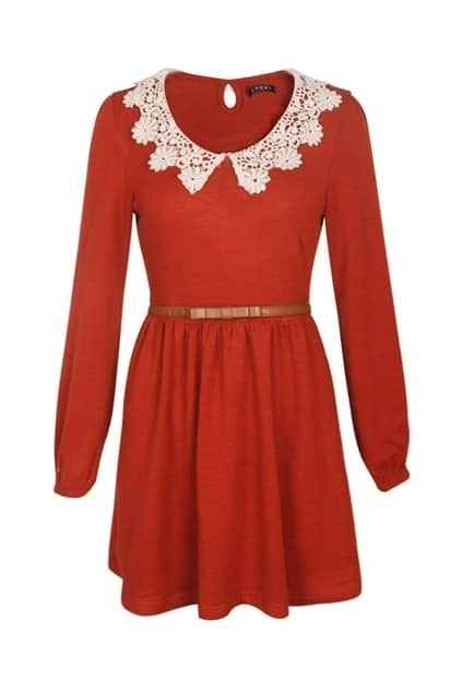 Contrast Wastband Lace Neckline Red Dress