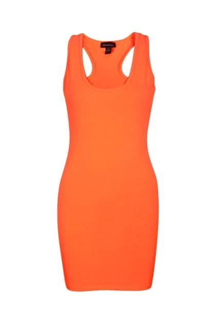 Shiny Orange Tank Dress
