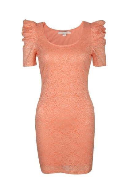 Puff Sleeves Orange Pink Dress