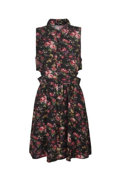 Floral Print Cut Out Dress