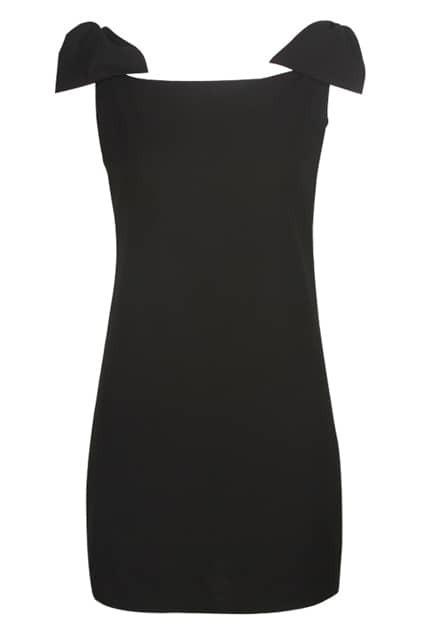 Bowknot Shoulders Black Dress