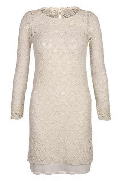 Hollowed Lace Main Cream Dress