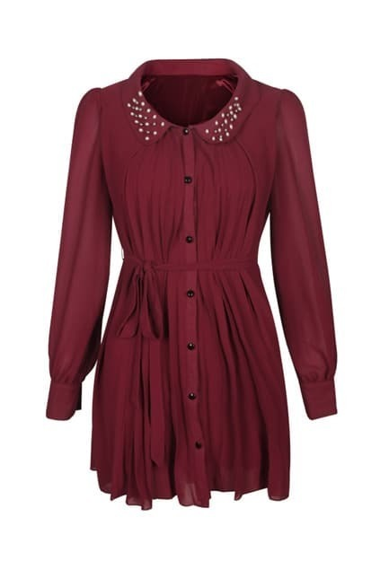 Beaded Lapel Dark Red Dress