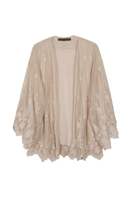 Opening Front Lace Hem Nude Blouse