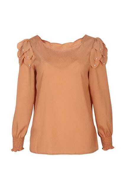 Beaded Detailing Nude Orange Blouse