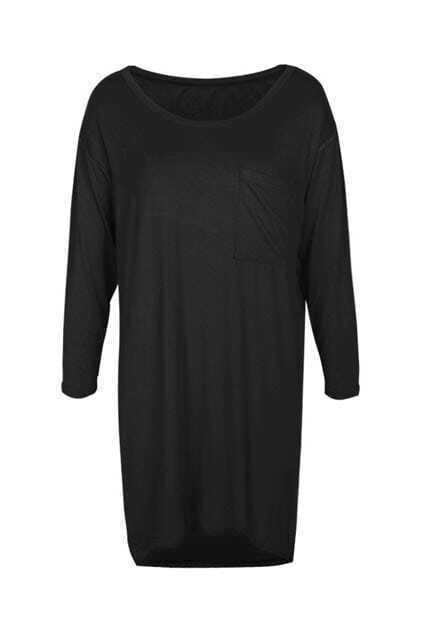 Long Length Loose Style Black T-shirt