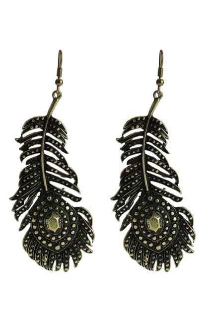 Feather Shape Rivets Black Earrings