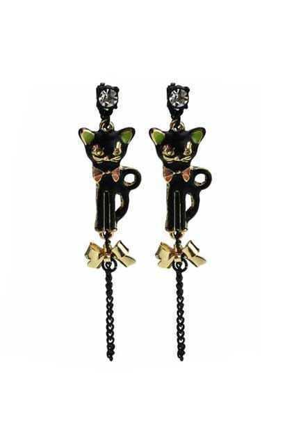 Black Cat Tassel Earrings