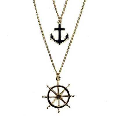 Anchor And Rudder Pendants Necklace