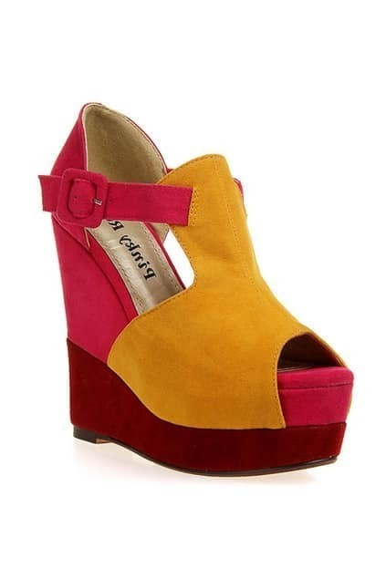Color Contrast Yellow-red Platform Sandals