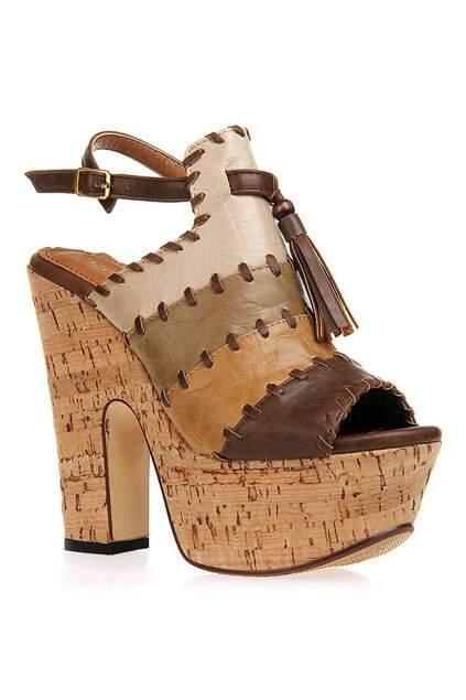 Color Contrast Brown Tassels Sandals