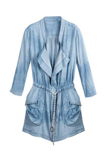 Longline Denim Belted Shirt