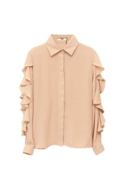 Flouncing Long Sleeve Pink-orange Shirt