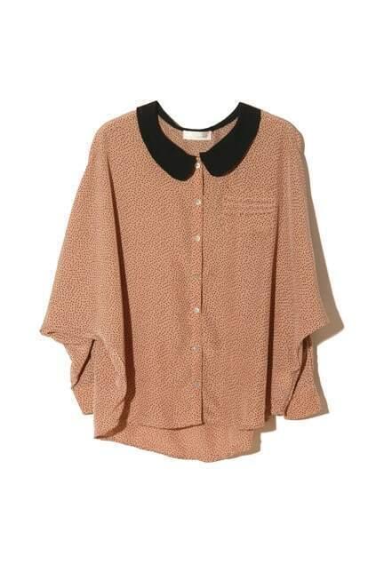 Peter Pan Collar Brown Shirt