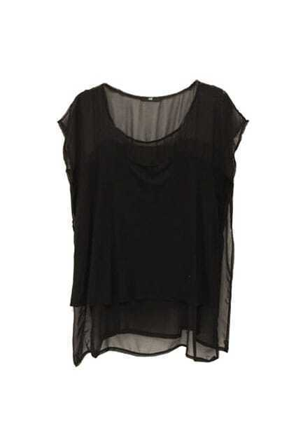 Sheer Upper Sleeveless Black Shirt