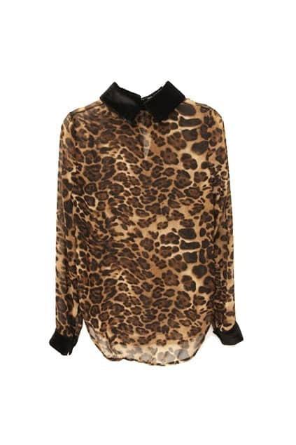 Retro Collar Leopard Shirt