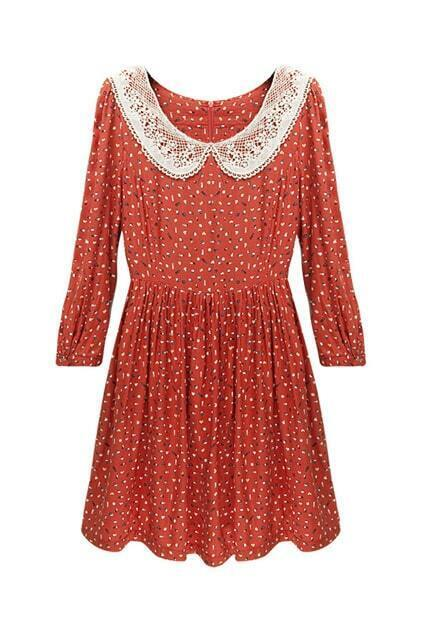 Lace Collar Slim Orange Dress