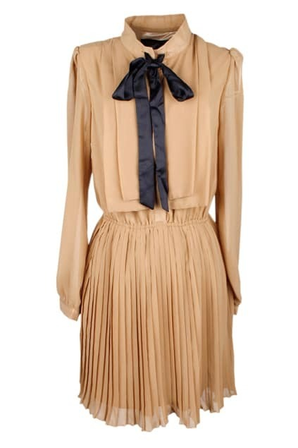 Contrast Bowknot Pleated Khaki Dress