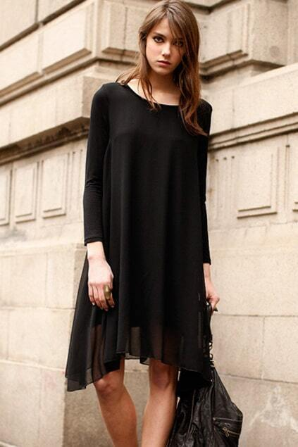 Chiffon Montage Sheer Black Dress