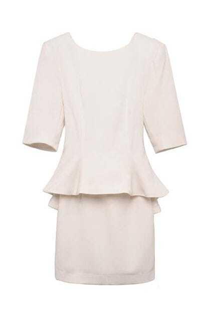Falbala Waist Elegant White Dress