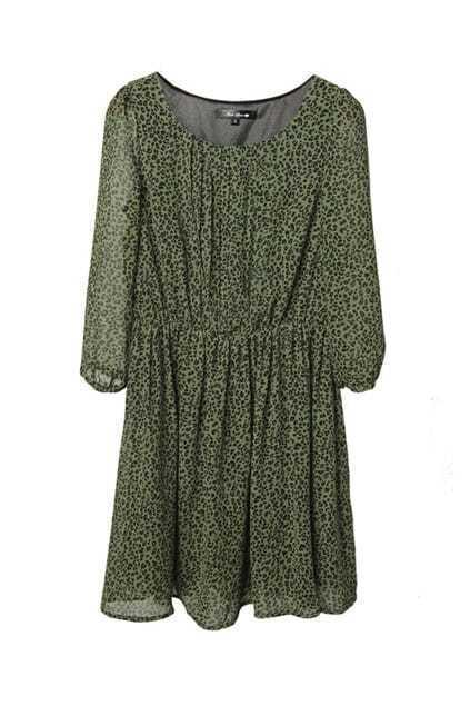 Leopard Pleat Green Dress